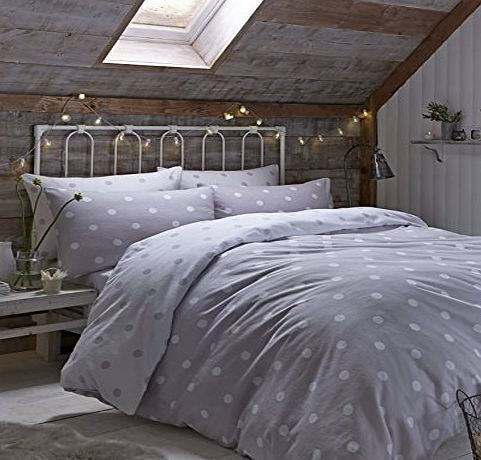 Catherine Lansfield Brushed Polka Double Duvet Set, Natural This charming, retro inspired reversible duvet cover set is perfect for adding a dash of colour to your home decor