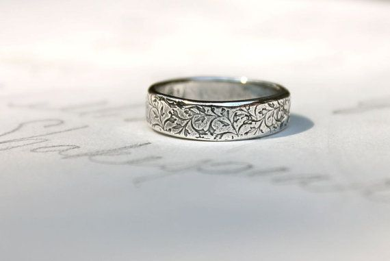 Mens Wedding Band Ring Thick Recycled Silver Happily Ever After Vine Leaf