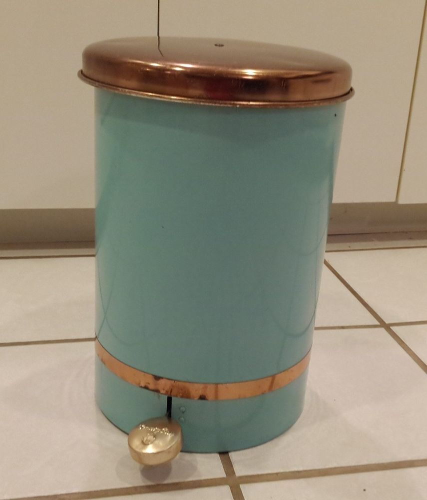 Vintage Beauty Can Waste Bin Lincoln Beautyware Copper Turquoise Aqua Retro Vintage Beauty Kitchen Trash Cans Turquoise Kitchen