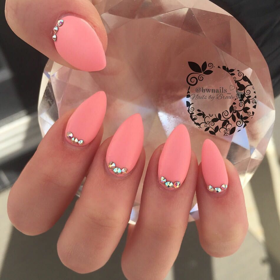 Matte Coral Maybe With Almond Or Russian Almond Shape 3