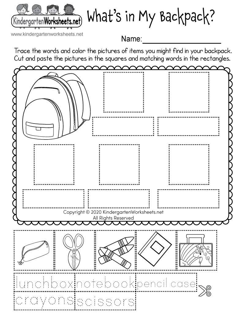 Kindergarten What S In My Backpack Worksheet Kindergarten Worksheets Sight Words Kindergarten Summer Worksheets Kindergarten Grammar Worksheets [ 1035 x 800 Pixel ]