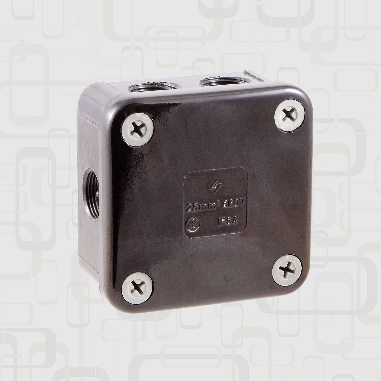 New Unused Surface Mounted Square Black Bakelite Junction Box Junction Boxes Electrical Installation Enameled Steel