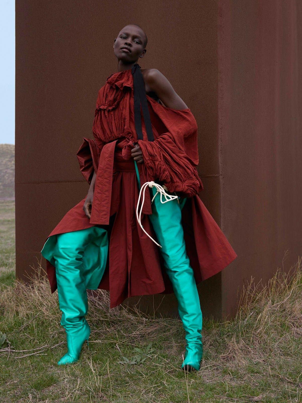 Alek Wek & Grace Bol in Dazed & Confused Spring/Summer 2017 by Viviane Sassen #editorialfashion