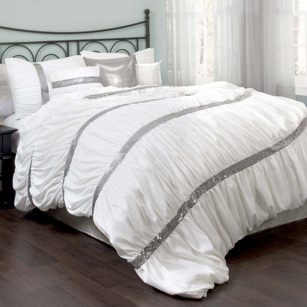 New Bed Bag King Queen White Silver Sequin 7 Pc Comforter Pillows Set Elegant Comforter Sets Ruched Bedding Lush Decor