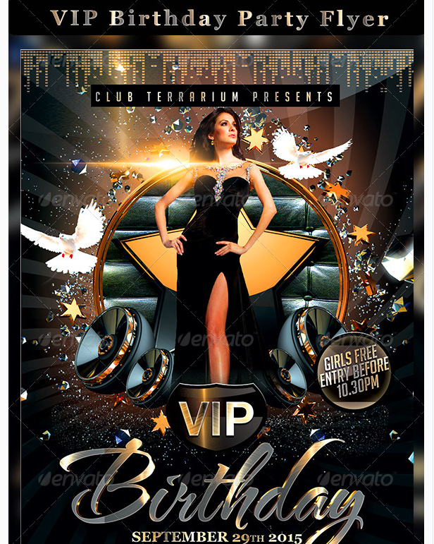 Vip Birthday Party Flyer  Party Flyer Templates For Clubs