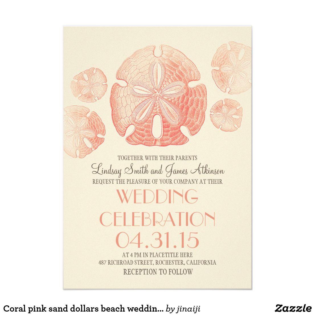 Coral pink sand dollars beach wedding invites | { Wedding ...