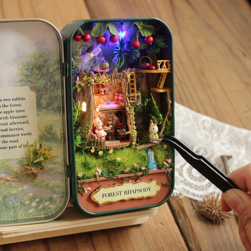 DIY Dollhouse Miniature Wooden Furniture Doll House Box Theatre Idea Art Gifts