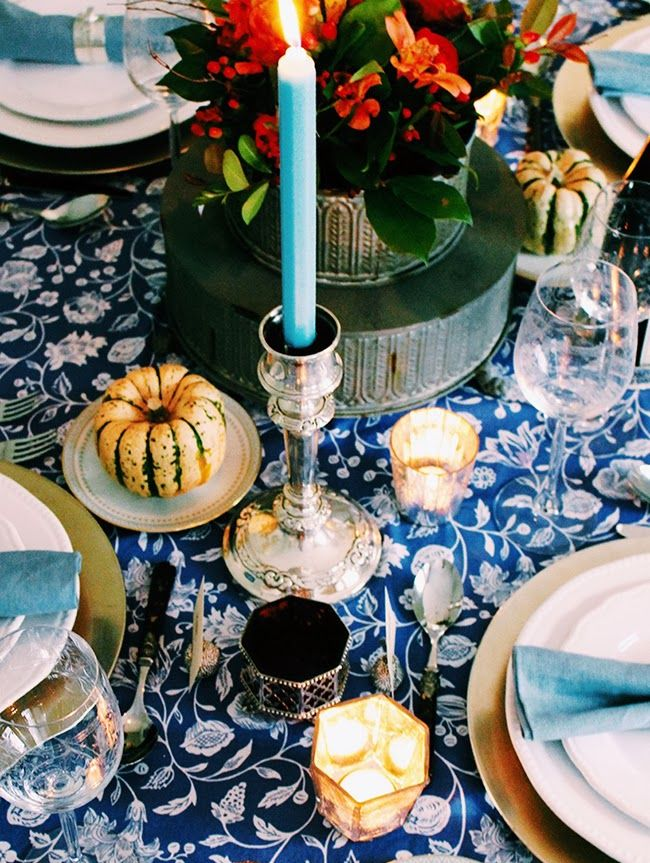 Loving a blue and white table accented with silver this holiday season.