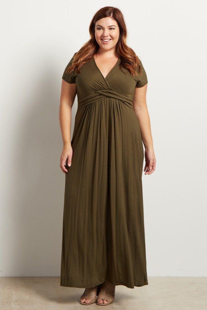 cd0e6f66452 Olive Green Draped Plus Size Maxi Dress (Black or Navy work too - 2X)