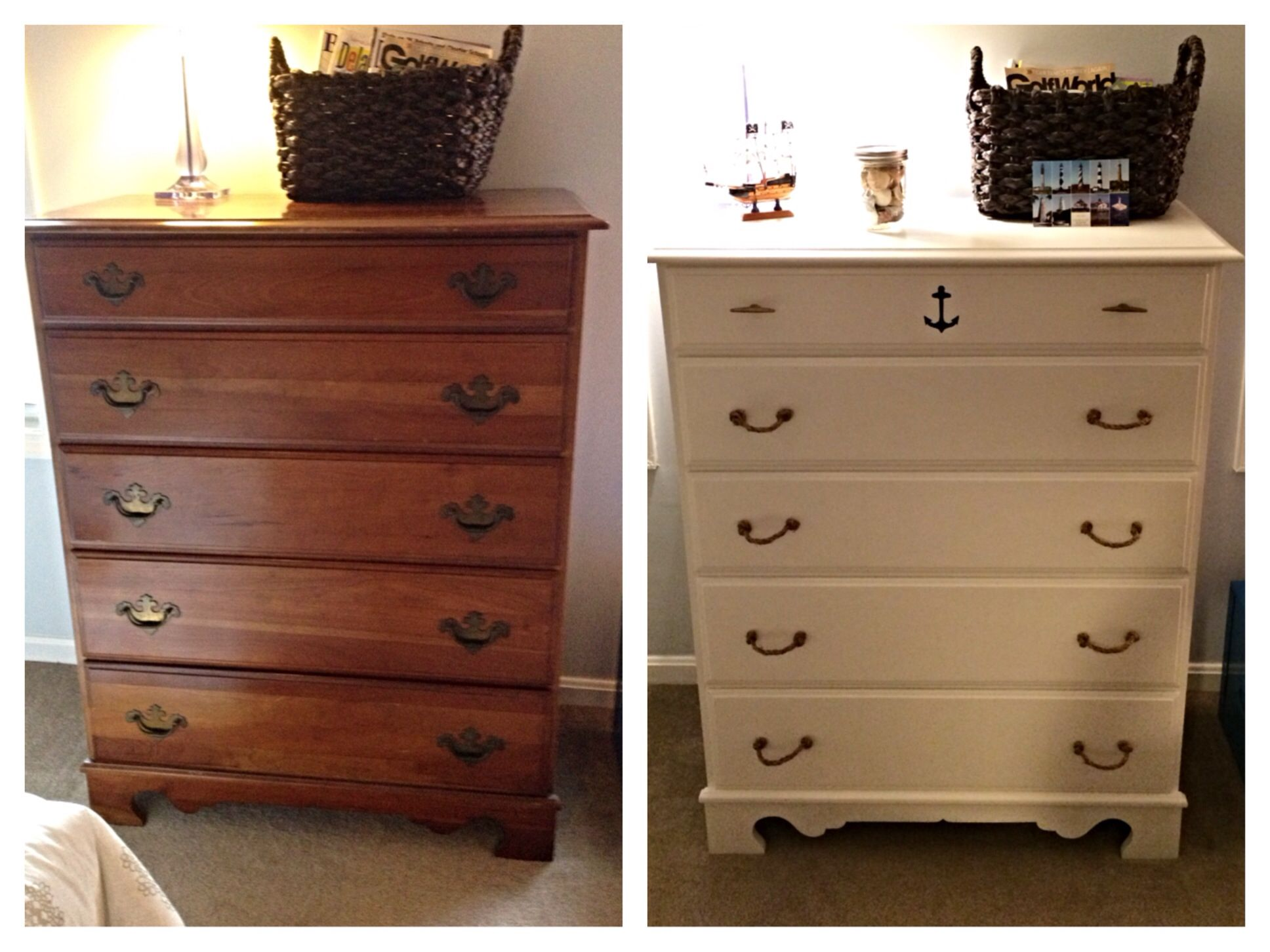 Nautical Dresser Makeover With Diy Rope Drawer Handles