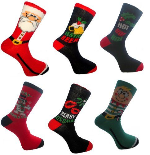 Men's Christmas Fun Socks 6 Pack Uk 7-11 Eur 39-45 RJM http://www ...