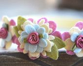 Felt Flower Garland Style Headband in . Shades of Pink. Wool Blend Felt Flower Headband. $14.75, via Etsy.