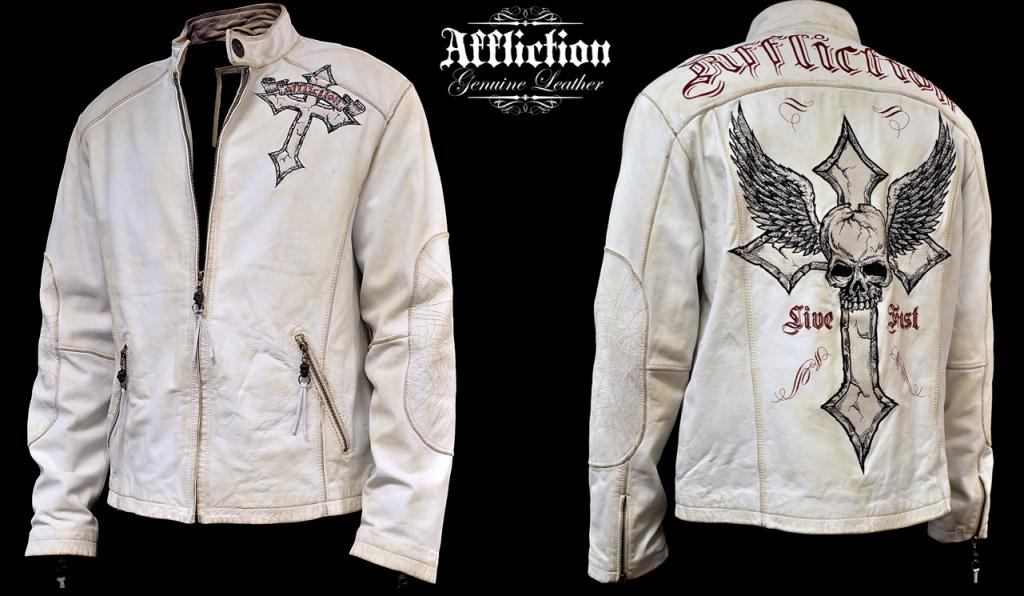 Affliction Mens White Leather Jacket Jackets, White