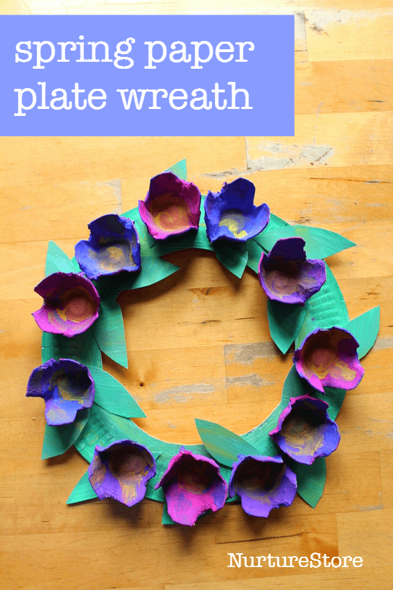 Paper plate spring wreath for preschool flower paper spring easy spring flower paper plate wreath for preschool or toddlers or older kids mightylinksfo Choice Image