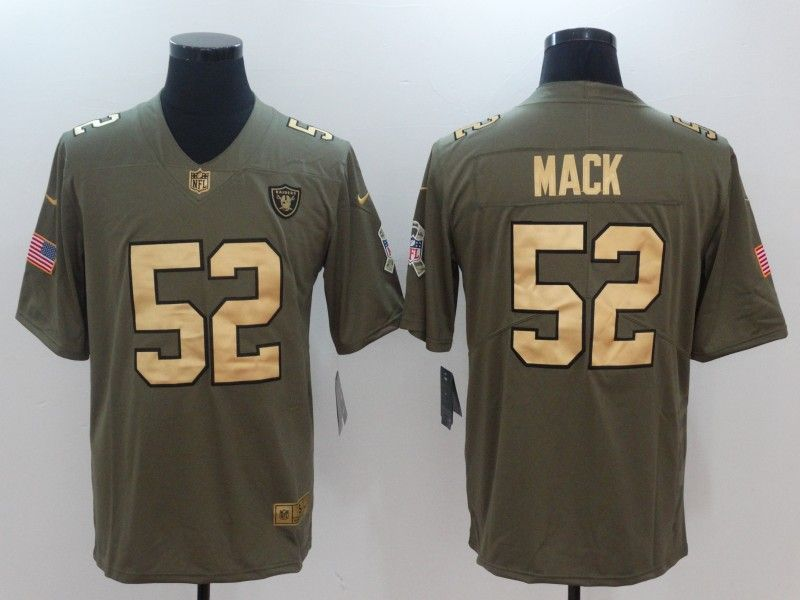 2864bfc93e Men Oakland Raiders 52 Mack Gold Anthracite Salute To Service Nike NFL  Limited Jersey Super Bowl