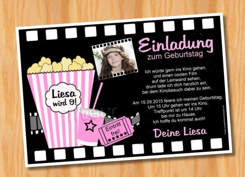 Foto Einladungskarten Kindergeburtstag KINO