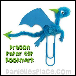 Dragon paper clip book mark craft from for Dragon crafts pinterest
