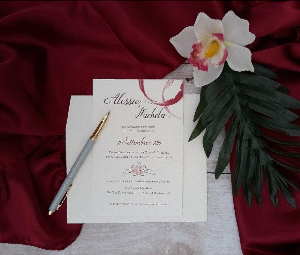 Partecipazioni Di Matrimonio Tema Nozze Vino Con Orchidea Matrimonio Personalizzato Partecipazione Di Matrimonio Nozze