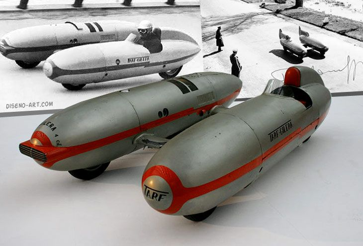 1951 Italcorsa Tarf II land speed record car. Looks like two motorcycles side by side. A 290hp supercharged 1720cc Maserati four cylinder was it's first power plant. Sometime between 1952 and 1986 the original engine was misplaced. For museum display, a Ferrari 246 Dino V-6 engine was installed.