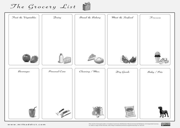 grocery list template - Google Search Cluster Busters! Pinterest - grocery checklist template