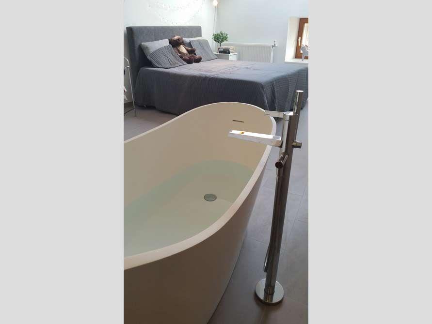Freistehende Badewanne Napoli aus Mineralguss - Weiß matt oder