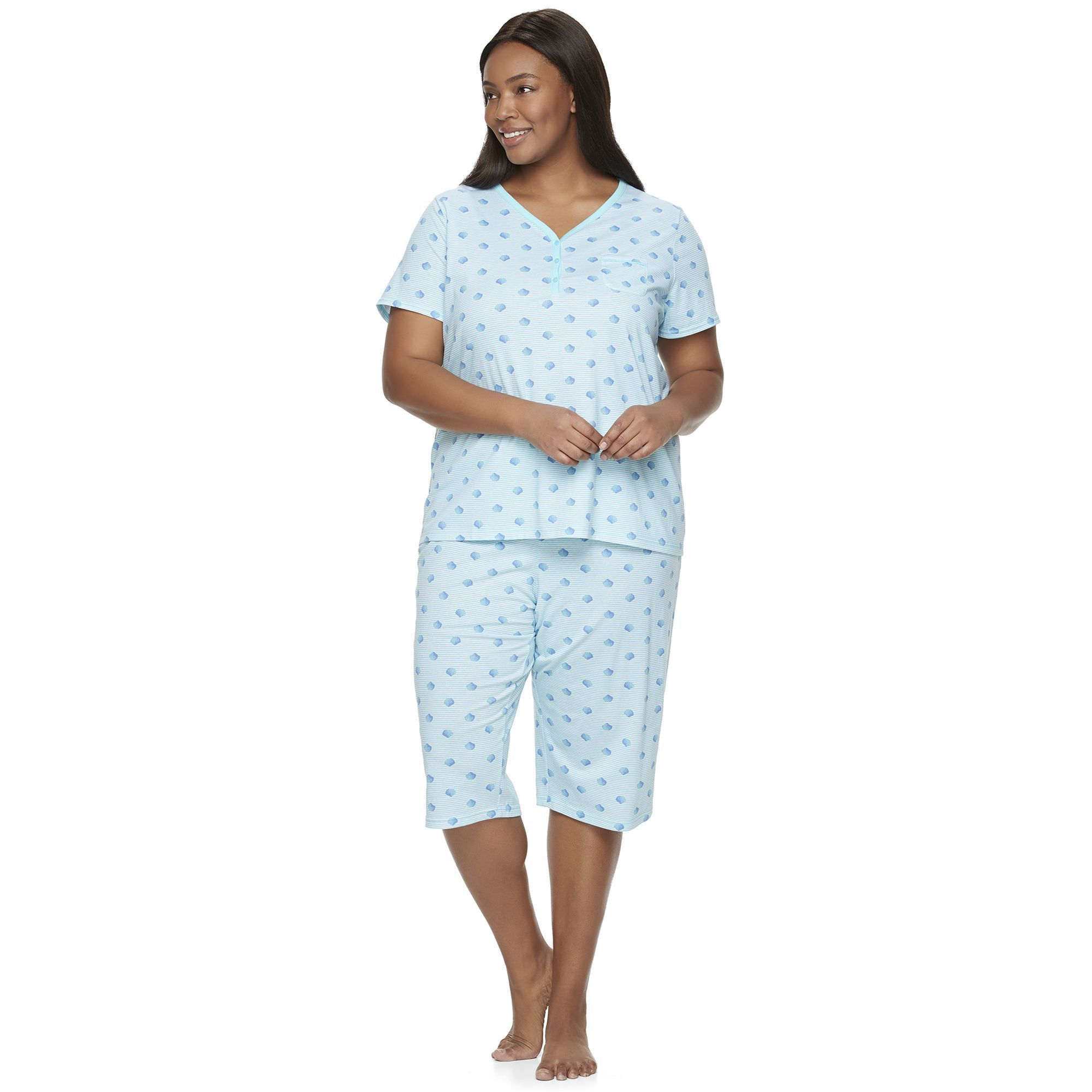 4c0bc2989 Plus Size Croft   Barrow® Pajamas  Skimmer Capris   Henley Tee PJ Set