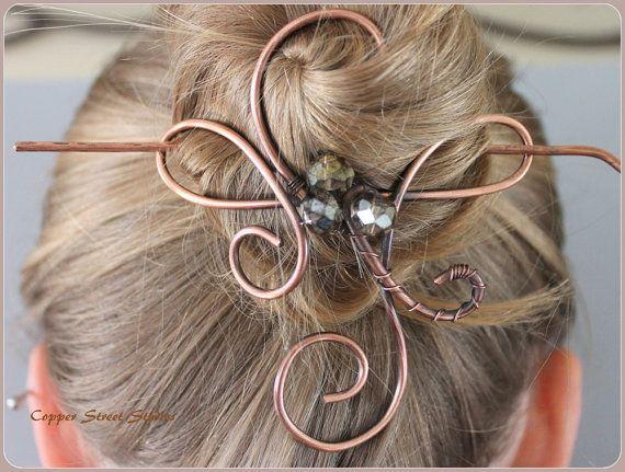 Large Hair Slide Metallic Crystal, Thick Hair Clip, Copper Bun Holder, Hair Pin, Big Hair Barrette, Beaded Hair Accessories Women, Wire Pin
