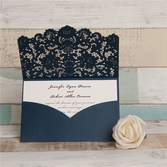 Wedding Invitations Pocket Style: Navy Laser Cut Wedding Invitations. Pocket Style Wedding