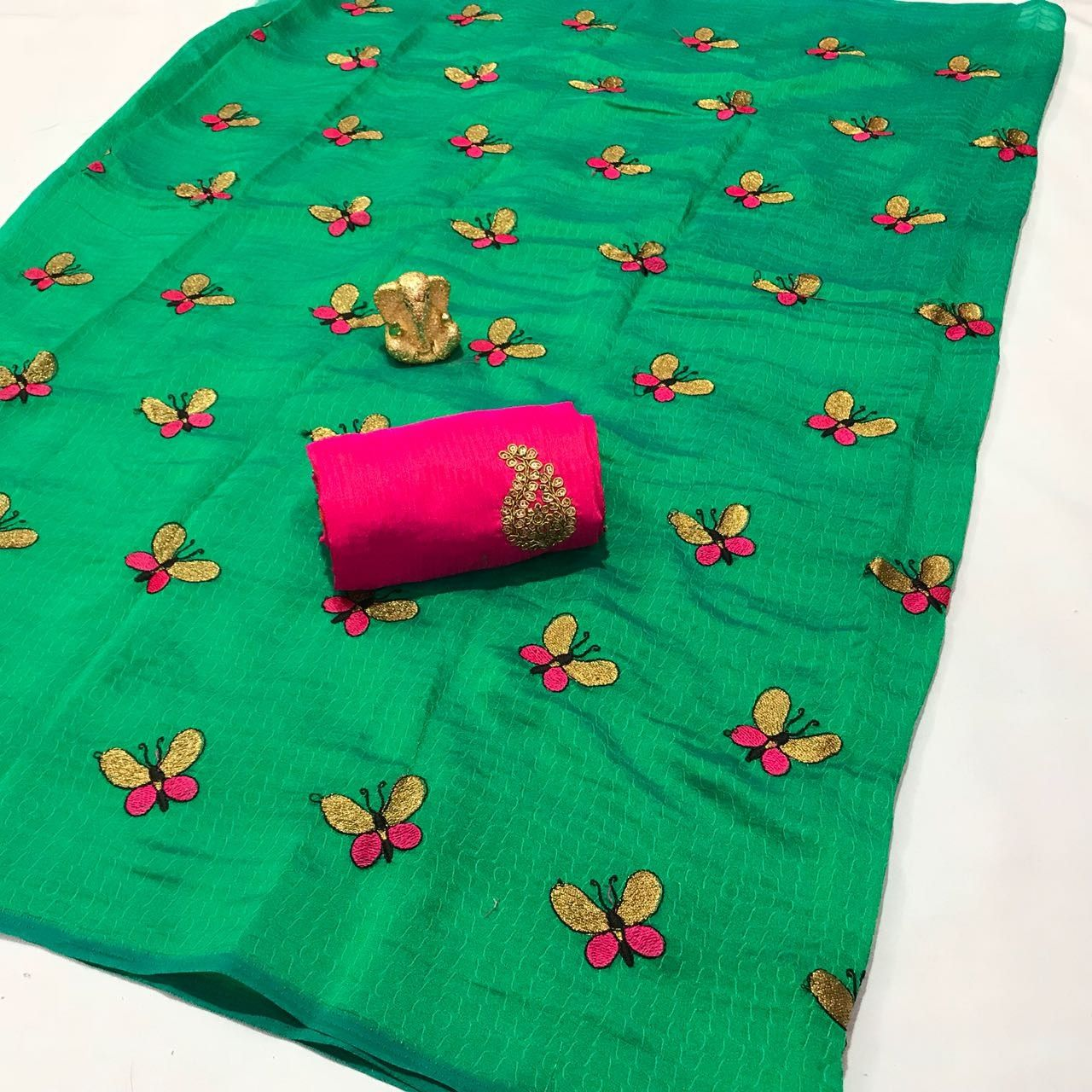 e96947a4b099ca Sana silk Pattern with Beautiful Butterfly work Saree, Banglori cotton With  Full Embroidery Blouse