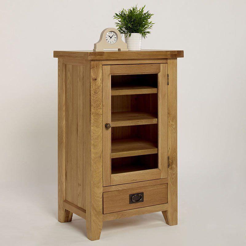 Provence Solid Oak Hi Fi Cabinet Dvd Cd Storage Ametis