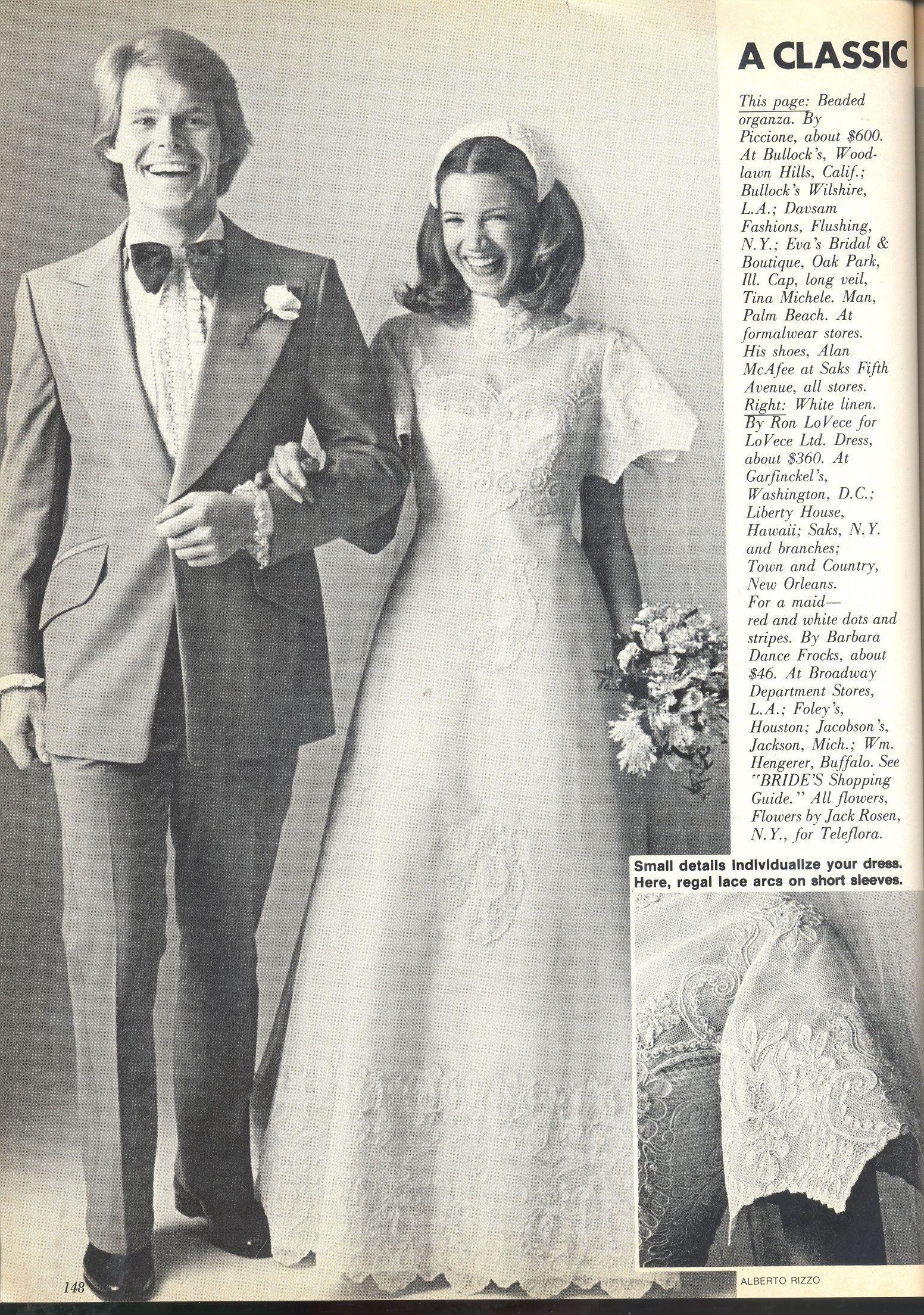 Alfred Angelo vintage designer fashion bride ad from June/July 1976 ...
