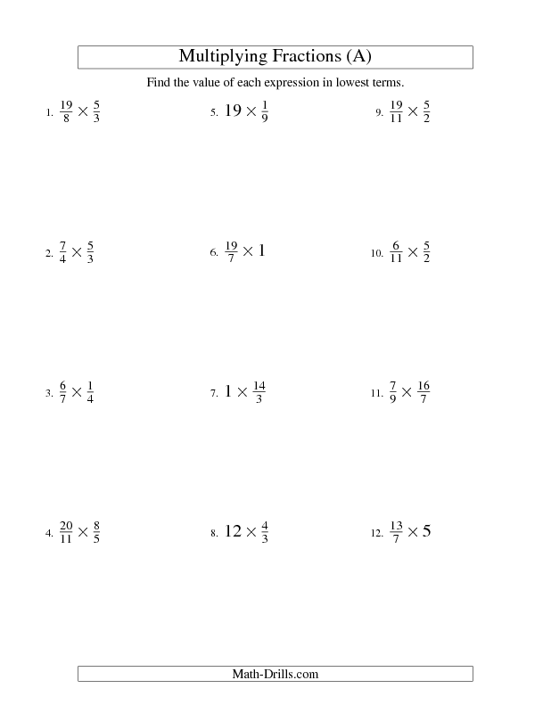 Fractions Worksheet -- Multiplying and Simplifying Fractions with ...