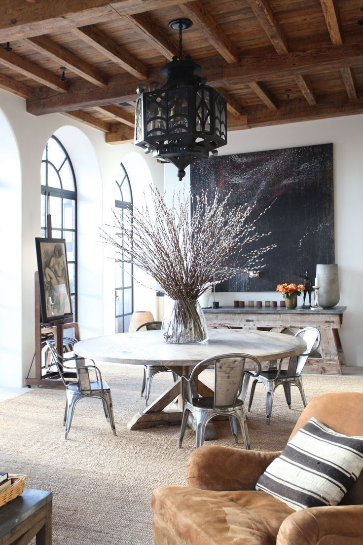 Daydreamsonvinyl Wooden Beam Ceilings Tall Arch Windows Modern Rustic White Wood Round Dining Table House Interior Interior Design House Design #rustic #white #living #room