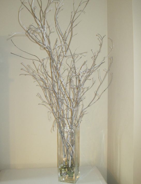 Pin By Chelle Belle On Winter Wedding Decorations Silver Winter Wedding Tree Wedding Centerpieces Silver Branch Centerpieces