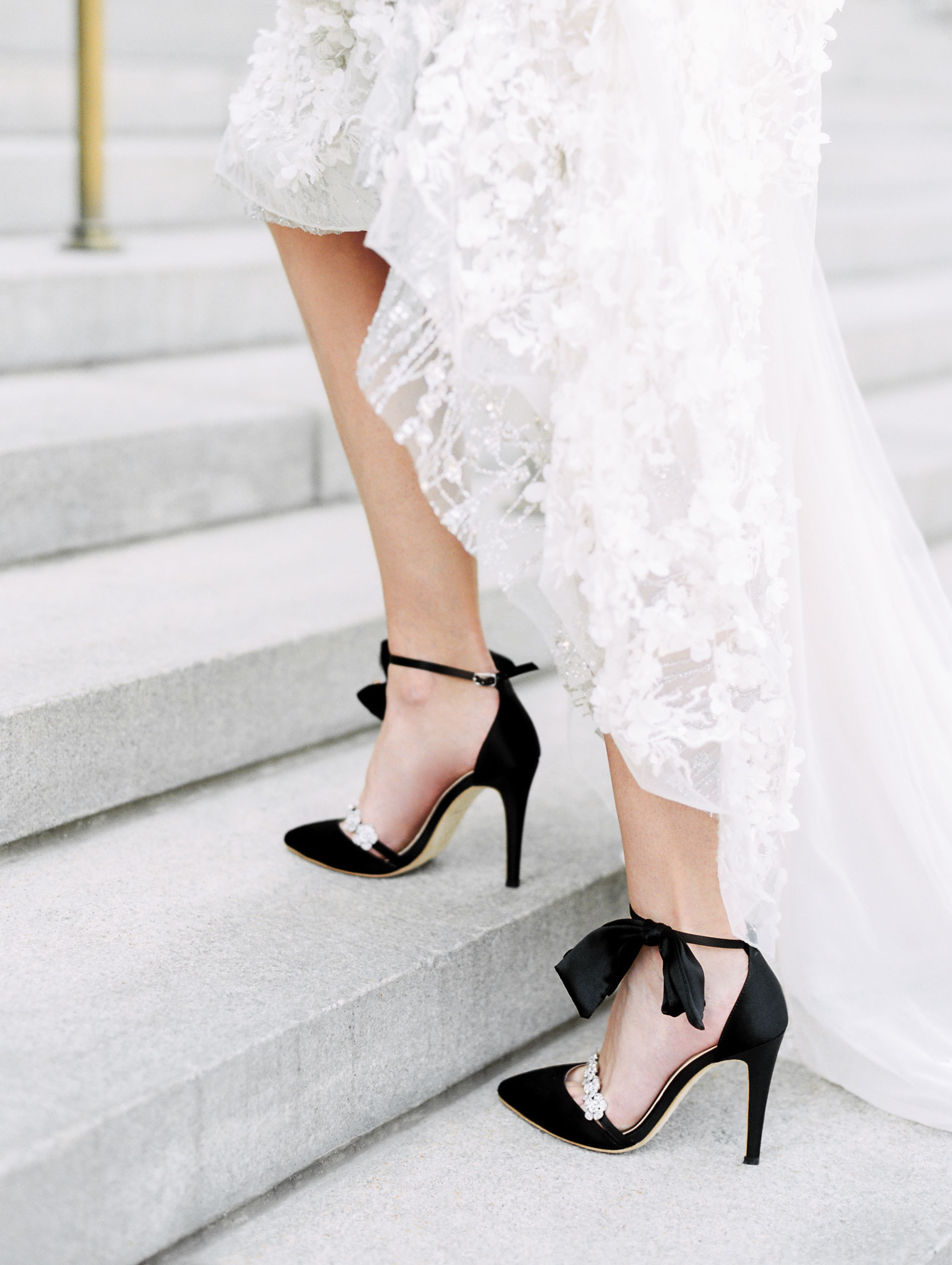 Heels With Bow Ankle Strap And Rhinestone Ankle Strap Heels Black Evening Shoes Sparkly Wedding Shoes Bridal Shoes [ 3520 x 2651 Pixel ]