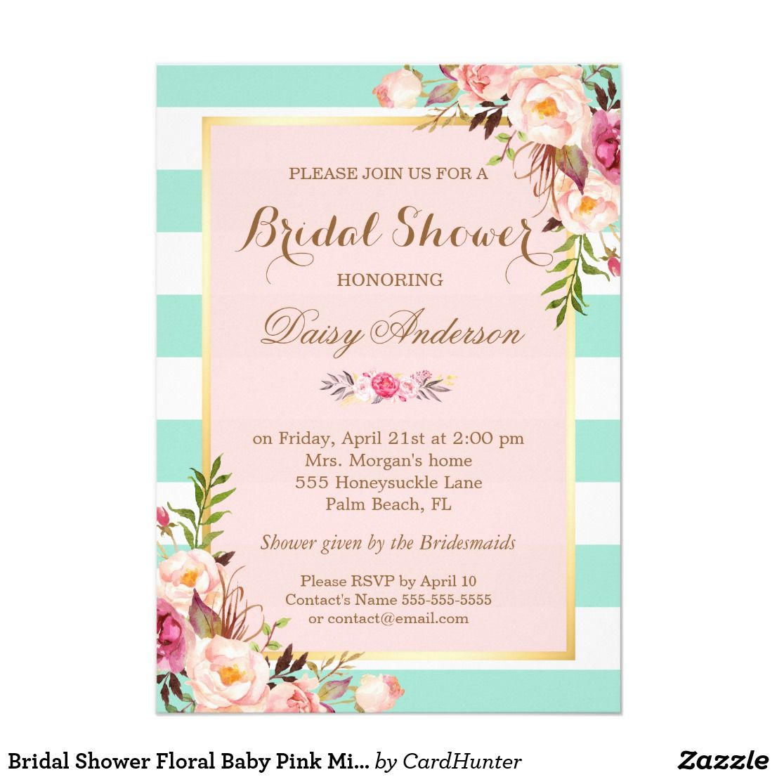 Bridal shower floral baby pink mint green stripes card bridal showers