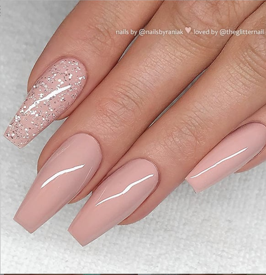 50 Pretty French Pink Ombre And Glitter On Long Acrylic Coffin Nails Design Page 9 Of 53 Mauve Nails Pink Acrylic Nails Coffin Nails Designs