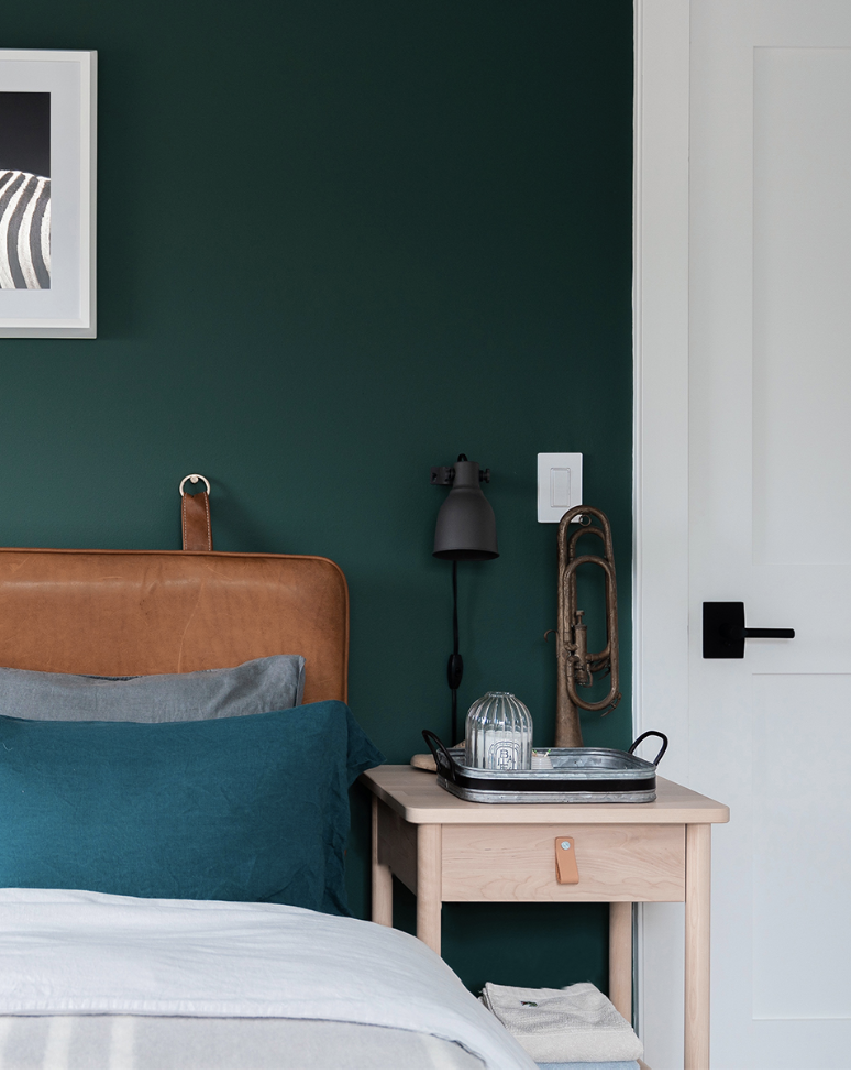 Love the new forest green guest bedroom with a buttery tan