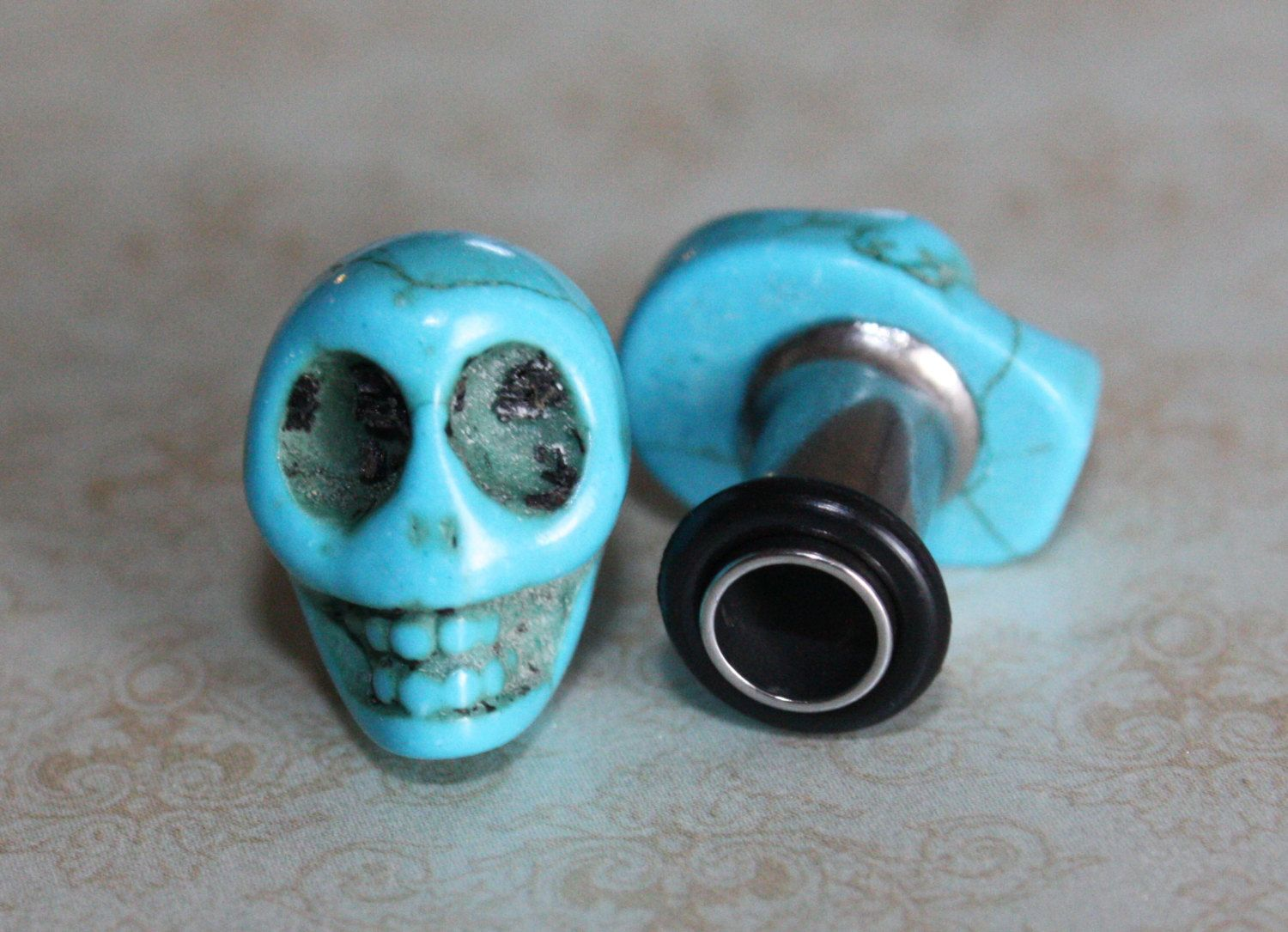 Gauging or stretching your ears information and stretch gauge kits - Blue Sugar Skull Plugs Tunnels Gauges For Gauged Stretched Ears 4g 5mm