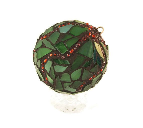 Christmas Ornament Mosaic Ornament Stained by PiecesofhomeMosaics