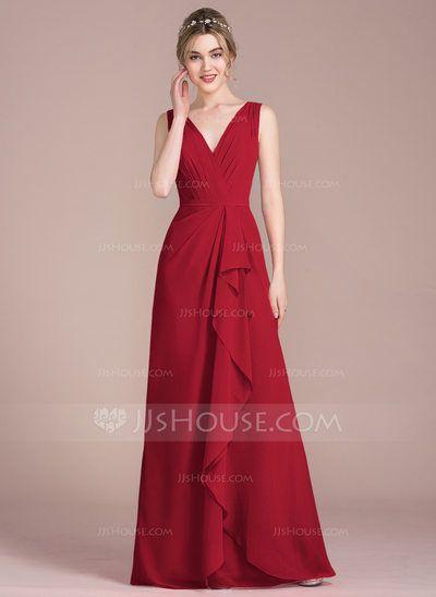 3fe4acde99 A-Line Princess V-neck Floor-Length Chiffon Bridesmaid Dress With Cascading  Ruffles (007104733) - JJsHouse