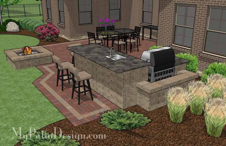 large brick patio design with outdoor kitchen and stone fire pit large brick patio design with - Outdoor Patio Design
