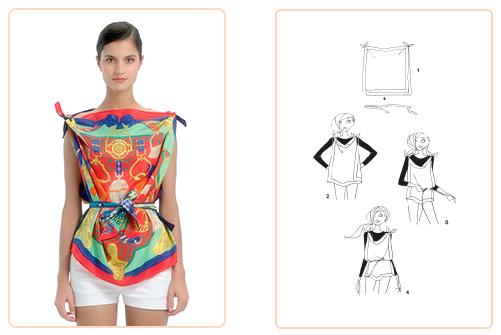 1029ece482c7 Ce nouage « Top au carré » est réalisable avec deux carrés 70x70 cm. Jouez  avec votre carré Hermès avec l application Silk Knots !  Hermes  Silk   SilkKnots