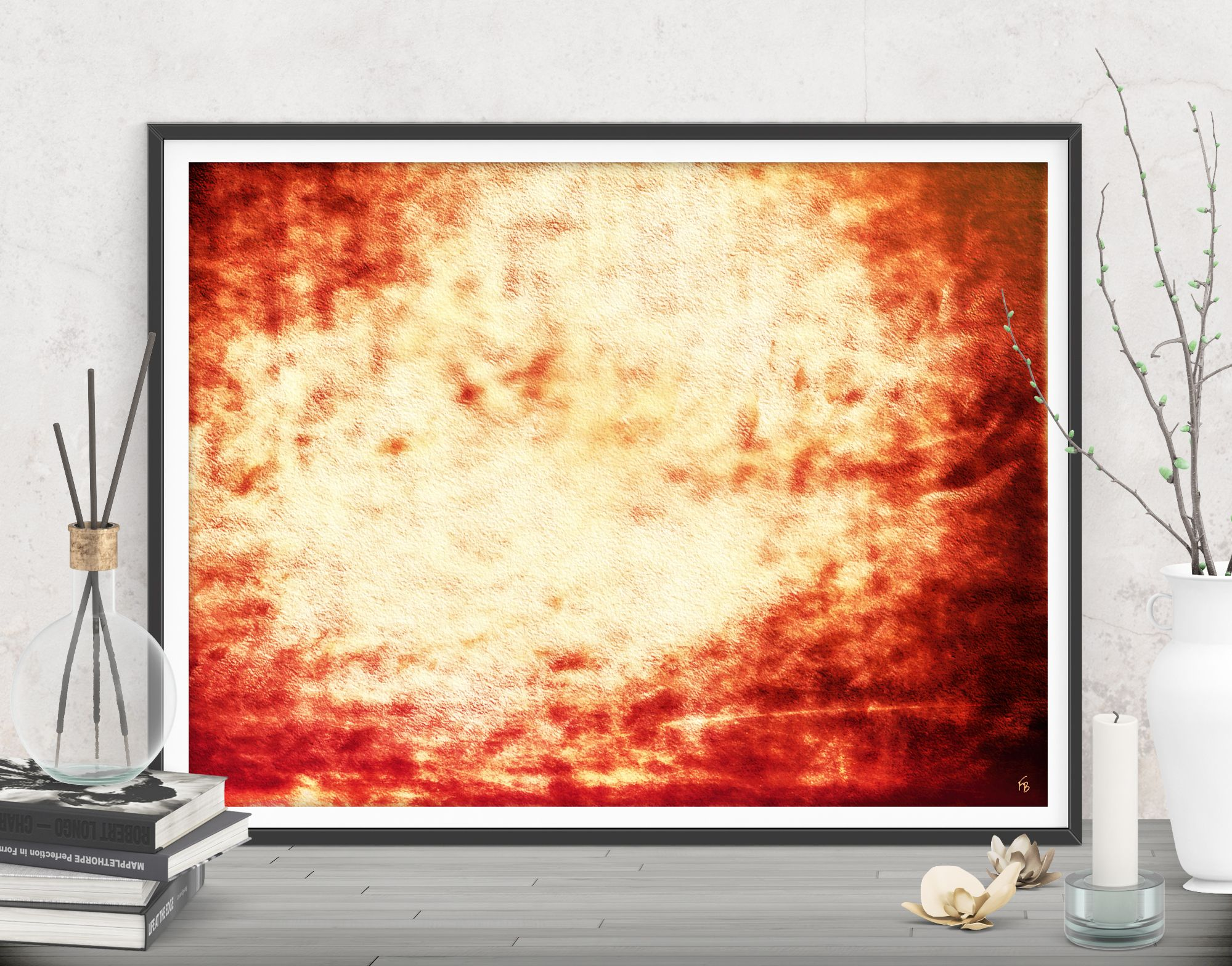 A vibrant style for your new apartment! Red large wall art ...