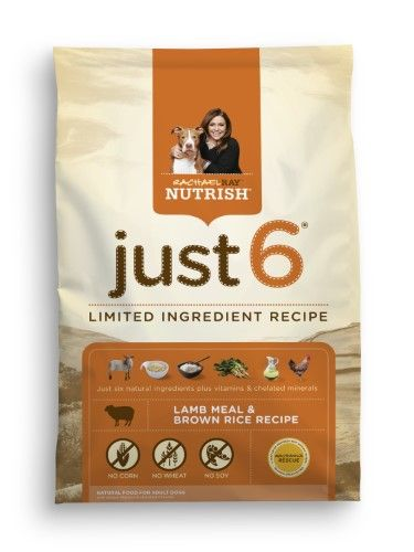 Rachael Ray Nutrish Just 6 Natural Dry Dog Food Lamb Meal Brown