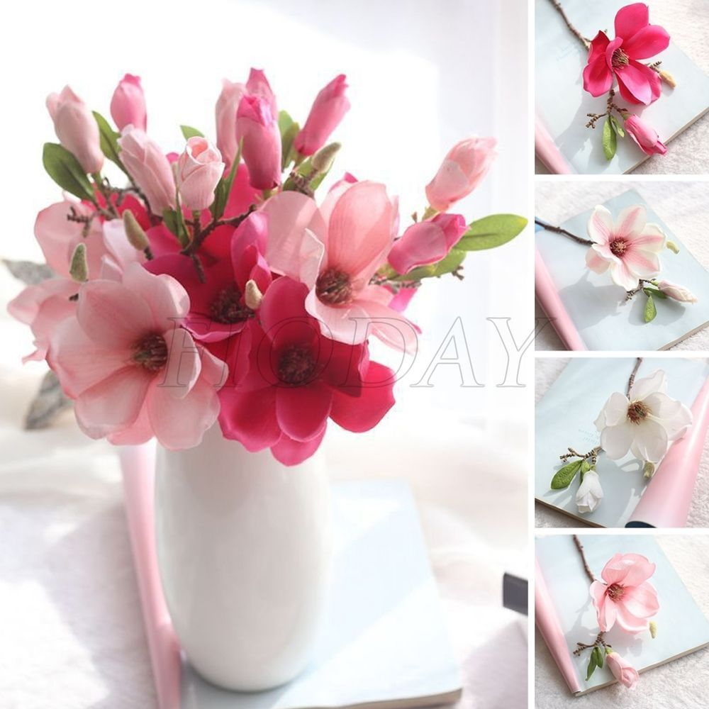 1pcs Artificial Magnolia Flower Fake Silk Floral Wedding Party Home ...