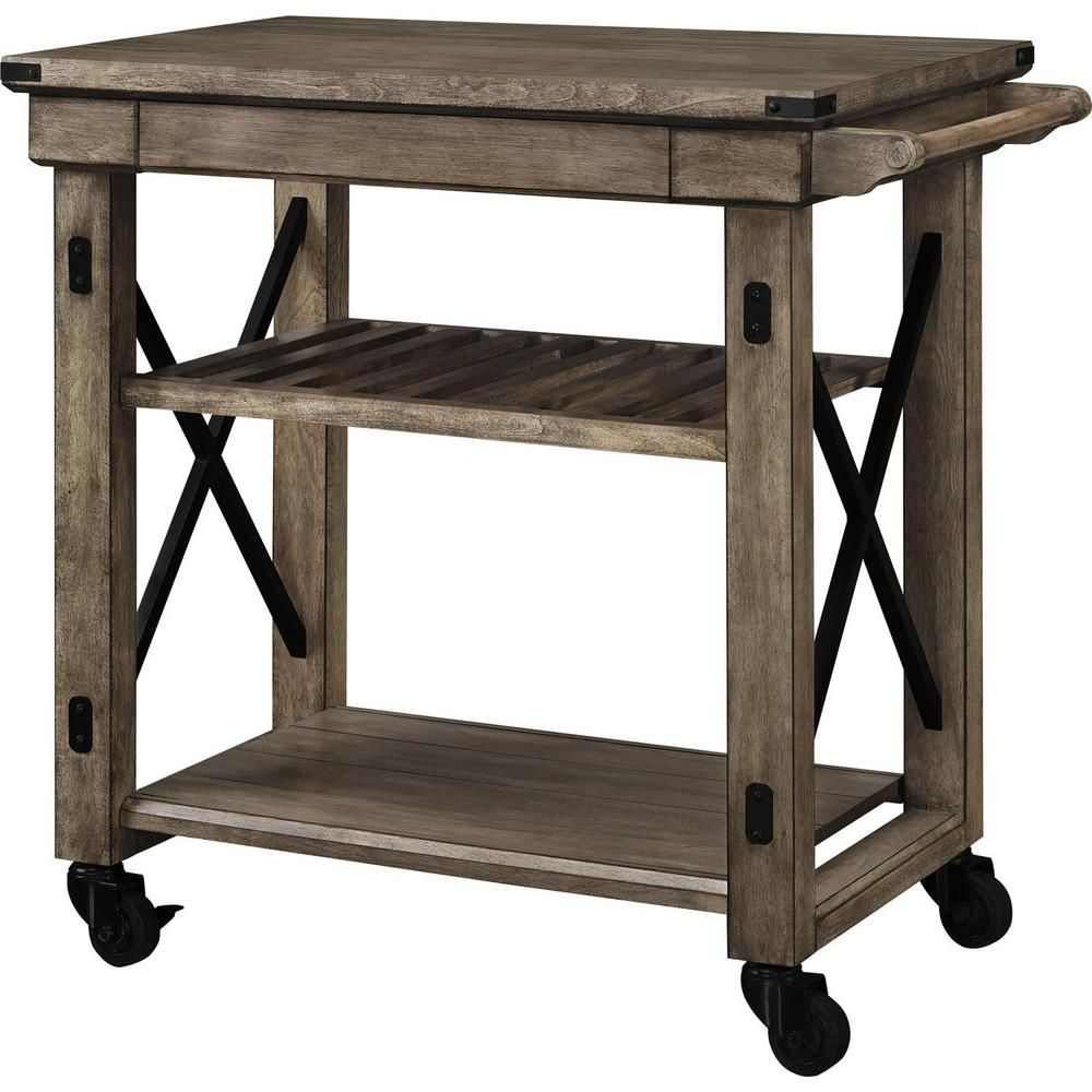 Ameriwood Forest Grove Rustic Gray Serving Cart with Slatted ...
