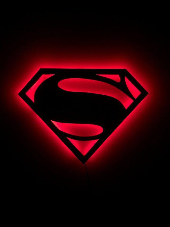 3c71b89edcf82 LED Superman Sign by IlluminateMeSigns on Etsy Superman Logo