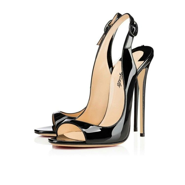 e6ebbdb72cd Elegant and Sexy Christian Louboutin Allenissima Black Patent Leather  Sandals Shoes. Find this Pin and more on Fashion ...