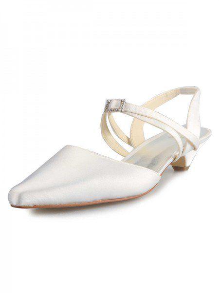 Women's Satin Kitten Heel Closed Toe With Buckle White